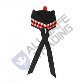 Scottish Black Wool Glengarry Dice Hat with Red Pompom