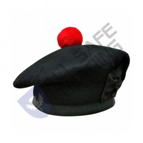 Scottish Black Wool Blended Balmorals Hat With Red Pompom on Top