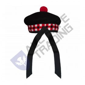 Scottish Black Wool Blended Balmorals  Dice Hat With Red Pompom on Top