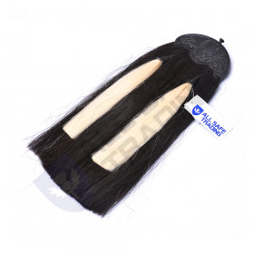 Scottish Military Long Horse Hair Sporran, Black Cantle with 2 White Tassels