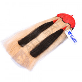 Scottish Military Long Horse Hair Sporran, Colorful Cantle with 2 Black Tassels