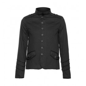 Men's officer Black Goth Steampunk jacket with braided lining