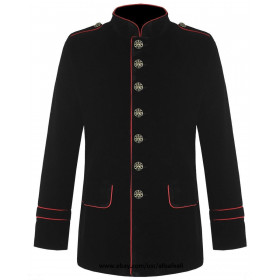 Men's Military Coat Red Piping Jacket Black Gothic Steampunk VTG Style